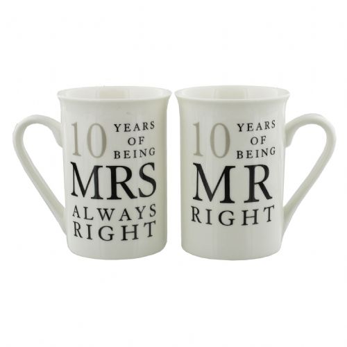 10th Wedding Anniversary Mr & Mrs Mug Gift Set - 10 years of being Mr Right & Mrs Always Right